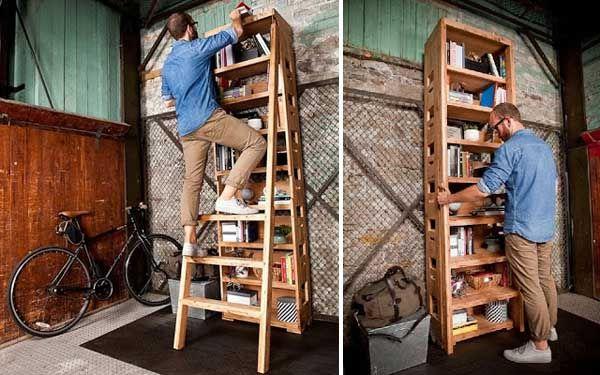 Modern Bookshelf Features a Hidden Built-In Ladder by Karen King
