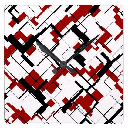 Digital Camo Black White Red Pattern Square Wall Clock - red gifts color style cyo diy personalize unique