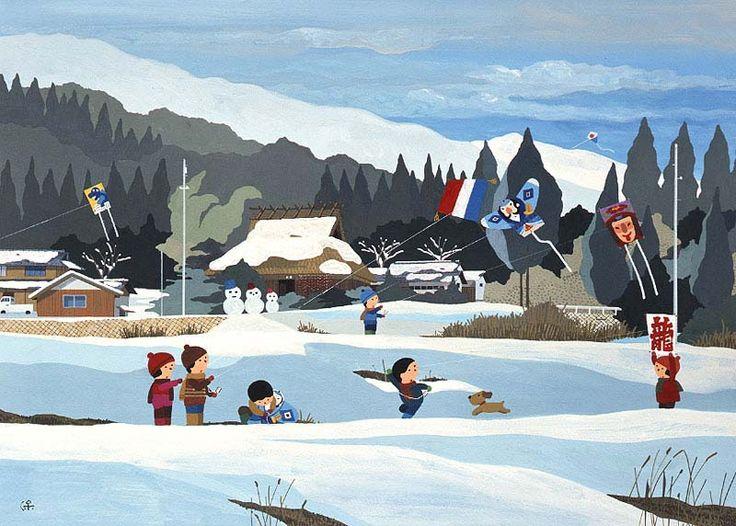 四季を彩る日本の風景、積雪の里山で凧揚げをする子供たちのイラスト