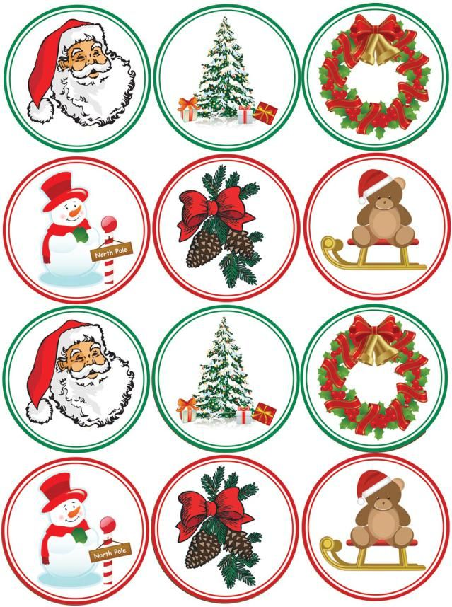 Make Your Own Christmas Cupcake Toppers: Another Printable Sheet Of Christmas Images