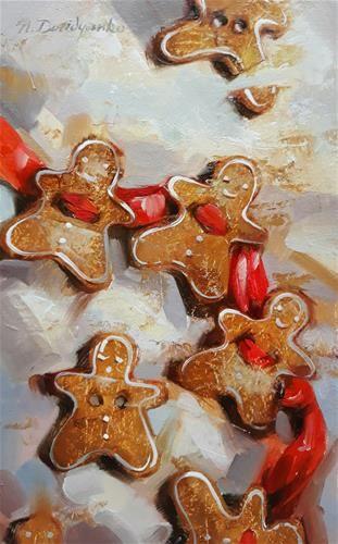 "Daily Paintworks - ""Gingerbread Mans Dance"" - Original Fine Art for Sale - © Natali Derevyanko"