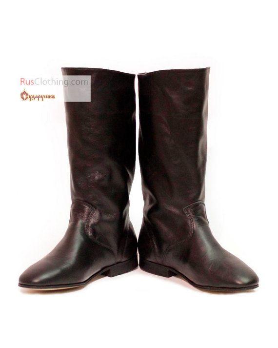 Kozakken laarzen Russische laarzen, kozak laarzen, dans schoenen, zwart leren laarzen, Russische schoenen, dans lederen schoenen, dans kostuum