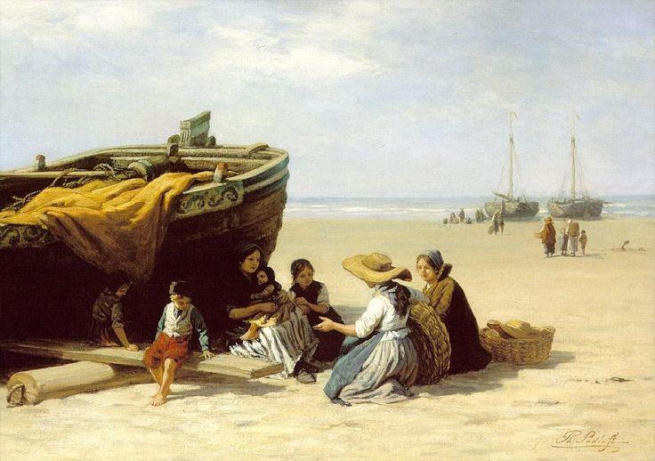Philip Lodewijk Jacob Frederik Sadée (1837 -1904). Vissersvrouwen met kinderen aan op het strand. Het is waarschijnlijk hoog zomer en midden op de dag. Een vrouw heeft met haar kinderen de schaduw van een bomschuit opgezocht. De jongen met de rode broek, wit vest en zwarte muts heeft Sadée vaker geschilderd.