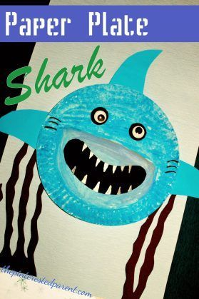 Paper Plate Shark Craft - kid's ocean and underwater arts and craft. Great for shark week or he summer #craftsummer