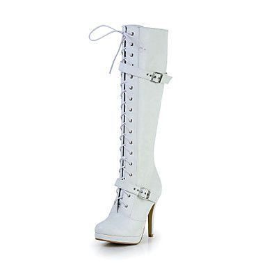 Great Leatherette Stiletto Heel Knee-high Boots with Zipper Party/Evening Shoes(More Colors) – USD $ 99.99