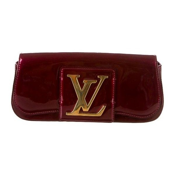 Louis Vuitton Sobe Clutch found on Polyvore featuring bags, handbags, clutches, purses, burgundy purse, patent leather purse, woven handbag, red patent handbag and louis vuitton handbags
