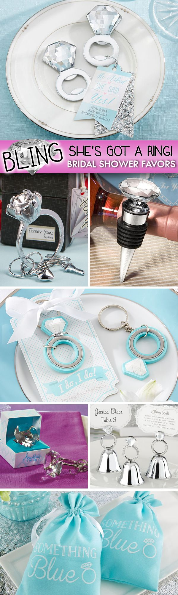Fun 'Bling She's Got A Ring' Bridal Shower Favor Ideas