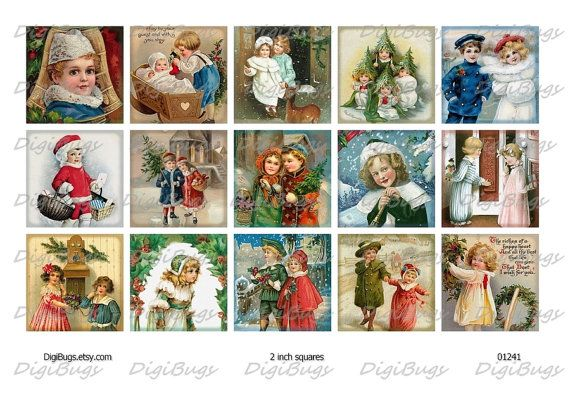 Digital Collage Sheet, Children at Christmas Time, 2 inch Squares, Vintage Christmas Postcards, Christmas Decoupage Images, Instant Download