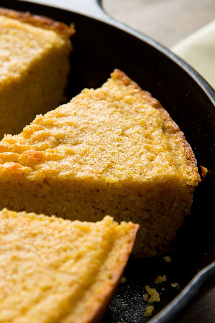 This lightly sweet cornbread has a crunchy, buttery crust, which comes from baking it in a hot skillet. If you have a cast-iron pan, this is the time to use it. (Photo: Andrew Scrivani for The New York Times)