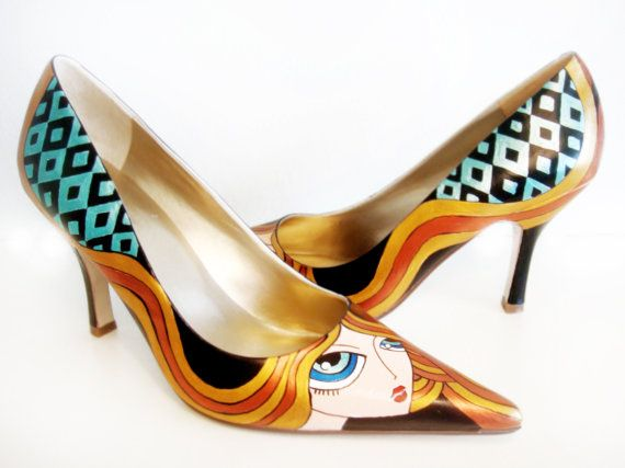 Blond Girl Heels  Hand Painted Shoes by PonkoWorld on Etsy,