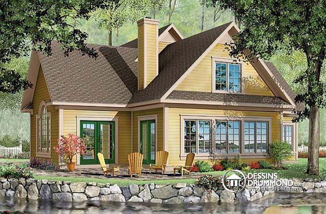 PLAN DE CHALET IDÉAL POUR BORD DE LAC   Chalet, garage double, salle à manger avec vue panoramique, 3 à 4 chambres   http://www.dessinsdrummond.com/detail-plan-de-maison/info/orleans-americain-1000166.html