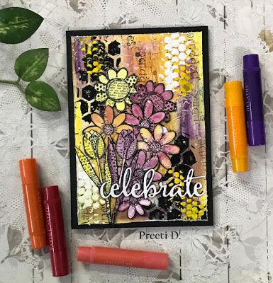 * Rubber Dance Blog *: Mixed media greeting card with Textured Flowers stamps and Gelatos