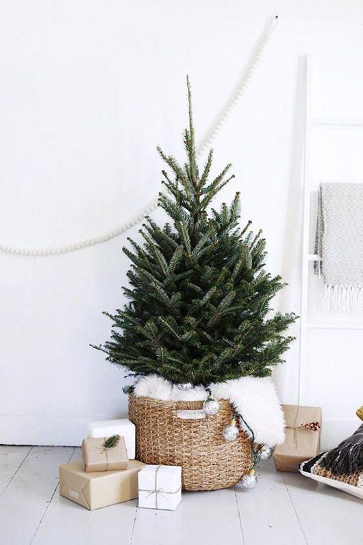 mini christmas tree in basket with faux fur. / sfgirlbybay