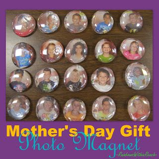 Photo magnets on flat glass marbles for Mothers Day!