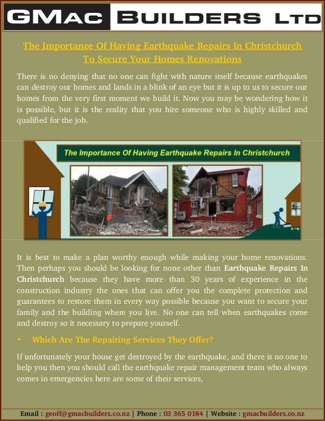 If your house get destroyed in earthquake than contact Earthquake Repairs in Christchurch now for homes renovations. Because they have more than 30 years of experience in the construction industry And Earthquake repairs.