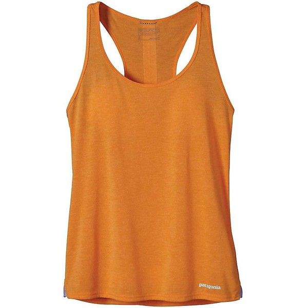 Patagonia Women's Nine Trails Tank ($40) ❤ liked on Polyvore featuring activewear, activewear tops, sporty orange heather, moisture wicking shirts, patagonia, heathered shirt, logo sportswear and patagonia shirt