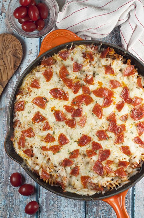 One Pan Pizza Pasta Casserole is an easy family-friendly, crowd-pleasing recipe that combines two favorites into one for a fast weeknight dinner! #ad #pickedatpeak