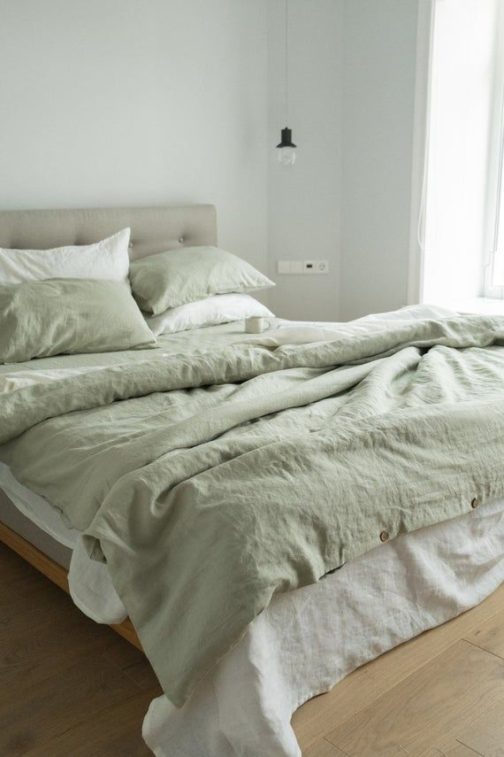 3 Piece Linen Bedding Set In Sage Green Linen Duvet Cover And 2 Pillowcases Twin Full Queen King Euro Au Sizes In 2021 Sage Green Bedroom Bed Linen Sets Minimalist Bed