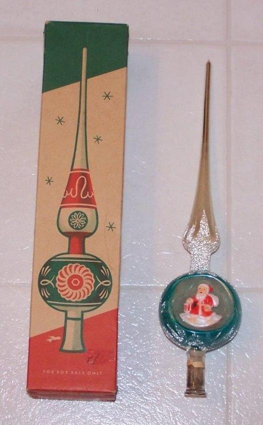 Vintage Shiny Brite Glass Tree Topper - Santa - Made in Western Germany - w/Box