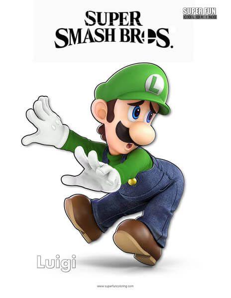 Luigi Super Smash Bros Ultimate Nintendo Coloring Page Super Fun