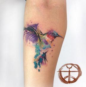 Couleur éclabousse tatouage Colibri