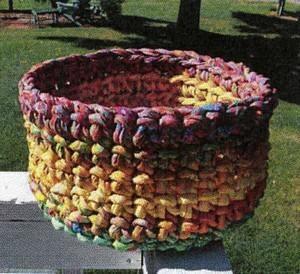 Fabric strip crocheted bowl