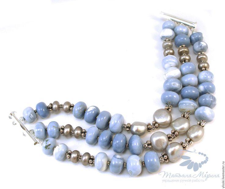 Купить Браслет Голубые небеса с агатом, жемчугом (серьги при желании) - браслет с агатом