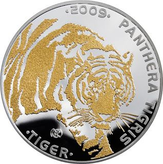 Kazakhstan 100 Tenge Silver Coin 2009 Tiger - Disappearing Animals