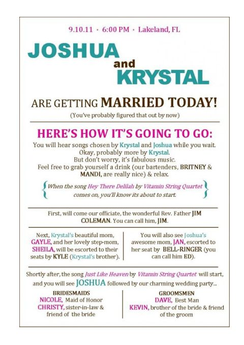 Wedding Program Idea I Think It S Funny That Is Not To Far Off Froma Name With A Joshua Lol Invitations Save The Date Pinterest