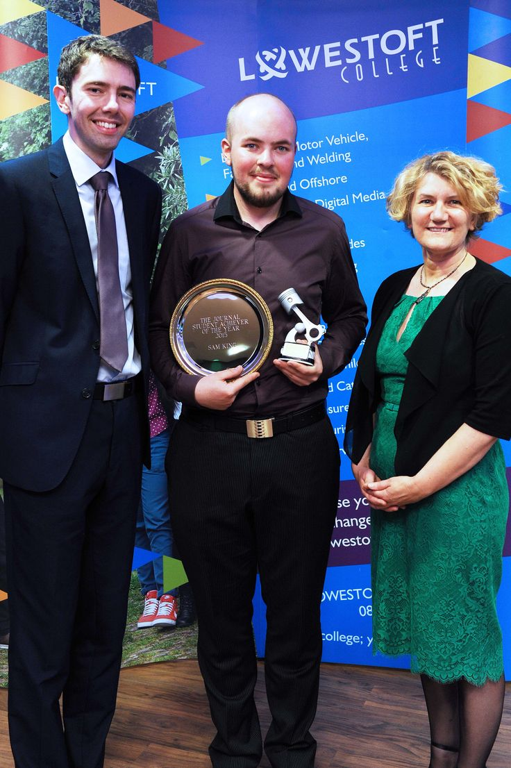 Sam King The Lowestoft Journal Student Achiever of the Year Pictured here with Andrew Papworth, Editor of the Lowestoft Journal, and Jo Pretty, Principal and CEO of Lowestoft College.