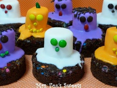 Ghost & Monster Halloween Brownies.  Yum. #halloween  #sweets