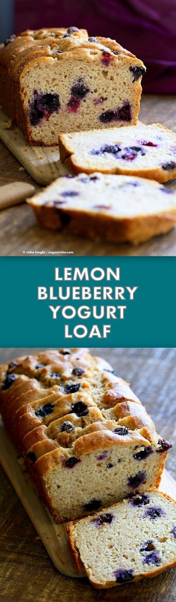 Lemon Blueberry Cake. This zesty Blueberry Lemon Pound Cake is dense and full of flavor. Use other berries in this Vegan Pound Cake Recipe. Non Dairy Yogurt Pound Cake Loaf with lemon and blueberries. 15 min prep and done. | VeganRicha.com