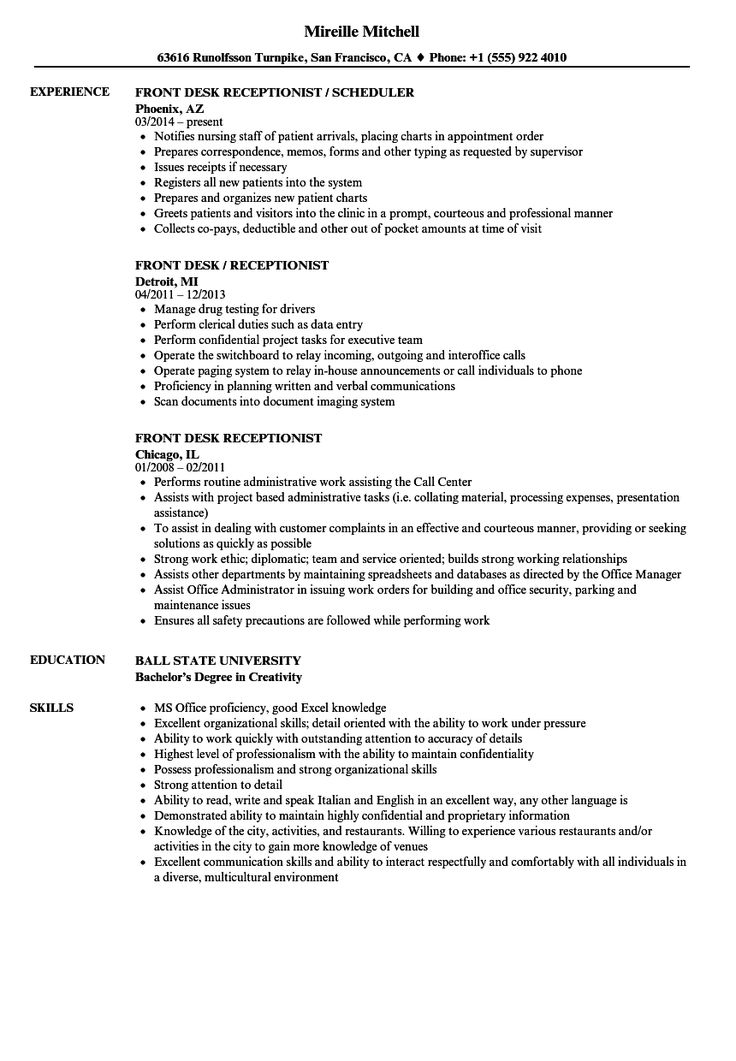 Medical Receptionist Resume Sample