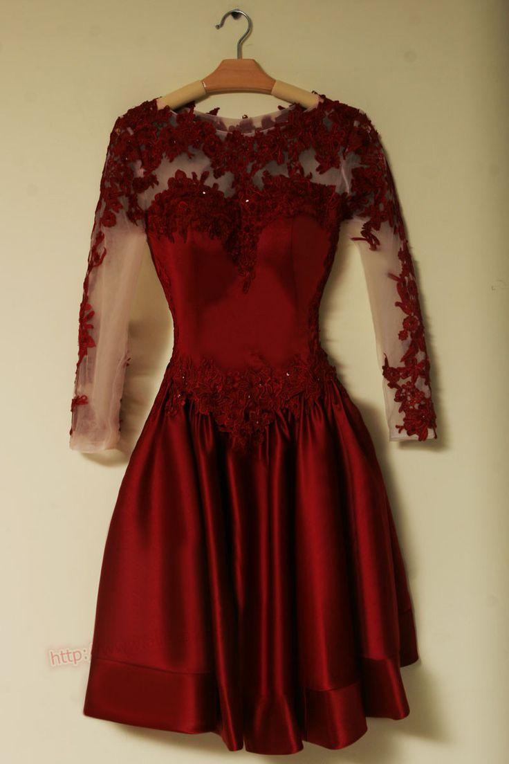 Elegant long sleeves burgundy soft short prom dresses