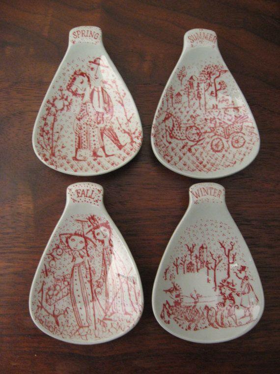 Vintage Mid Century Danish Modern Set of 4 Bjorn Wiinblad 4 Seasons Spoon Rests Nymolle Pottery Denmark