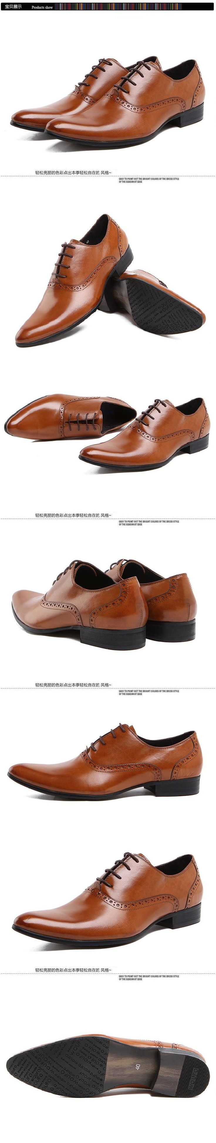 New Fashion Spring And Autumn Full For Grain Leather Pointed Toe British Business Dress Men's Brand Oxfords Shoes Flats