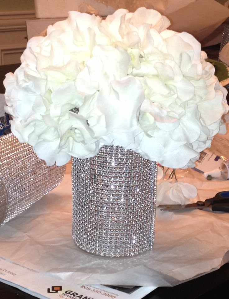 funeral picture board ideas - DIY bling wedding centerpiece