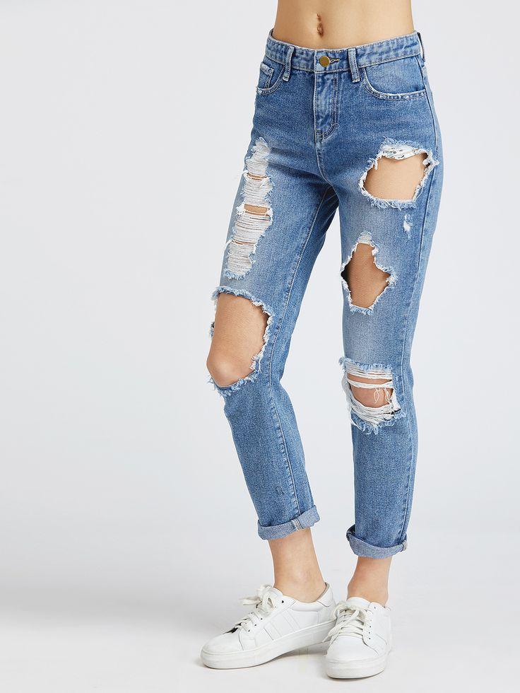 Shop Bleach Wash Distressed Jeans online. SheIn offers Bleach Wash Distressed Jeans & more to fit your fashionable needs.