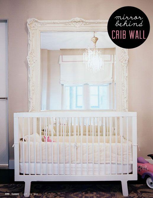 Mirror behind crib: Babies, Big Mirror, Girl, Nurseries, Large Mirror, Nursery Ideas, Baby Room, Kids Rooms