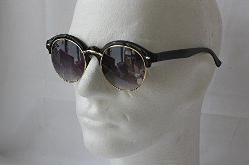 Retro Sonnenbrille 50er Jahre Vintage Glasses Damen Herren P1250 (SCHWARZ-GOLD-1240)