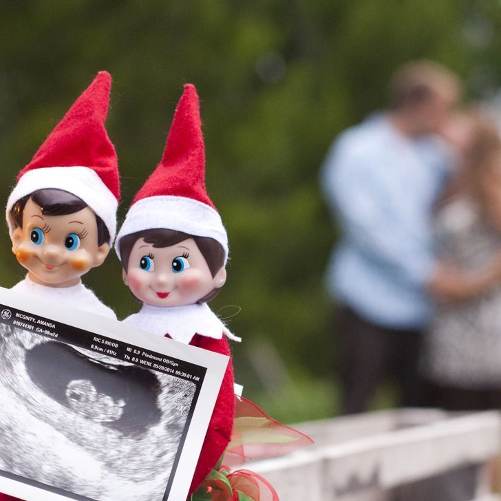 Our favorite holiday-themed pregnancy announcements, from custom holiday cards and Elf on the Shelf photo shoots to an adorable wine label (it's the gift that keeps on giving!). #pregnancyannouncementcards,