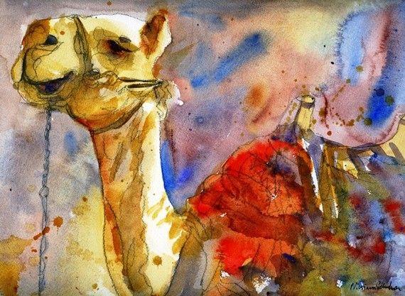 Camel Art watercolor print of animal art in Israel by Miriam Schulman
