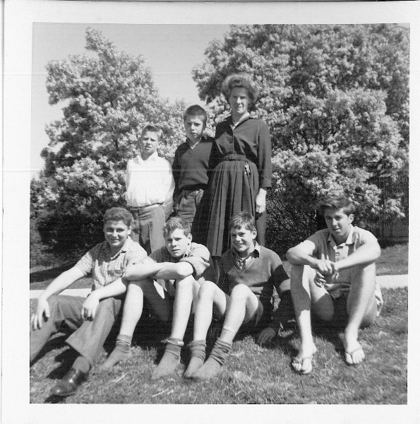Mort Cottage Mother & Children - Fairbridge Molong 1962 (Robert J Sellers middle & rear next to Cottage Mother)  at the back next to the Mort Cottage Mother.