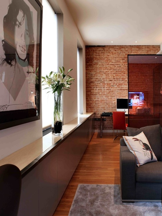 modern home office by valerie pasquiou interiors + design, inc, brick wall