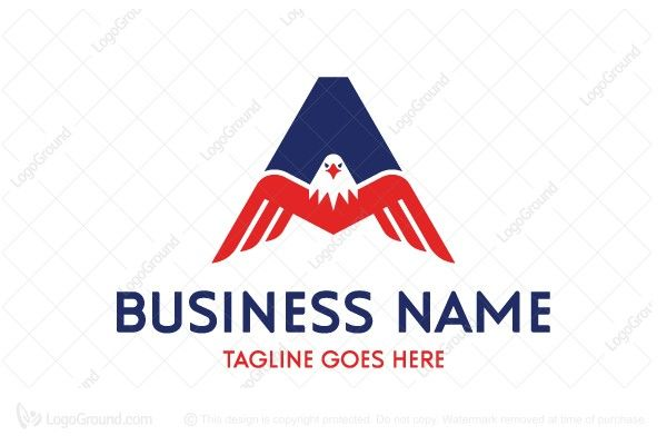 Logo for sale: Letter A Eagle Logo 3 Logo Letter A and bald eagle logo to convey strength. American eagle usa america united states of falcon hawk security secured alphabet A Construction Military civil service uniforms surveillance consultation consulting consultant protection  logo logos sports team brave sharp
