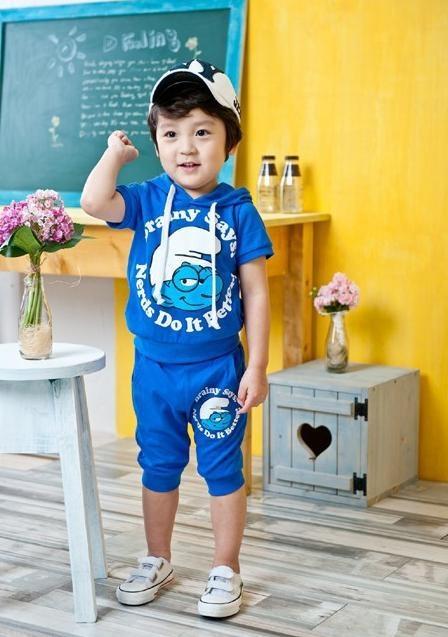 FBS-01B Smurf Set Blue  Product : Kids Set Material : Cotton Colour : Blue Ages : 2-5T Size : 100,110,120,130  Rp 141.500,-