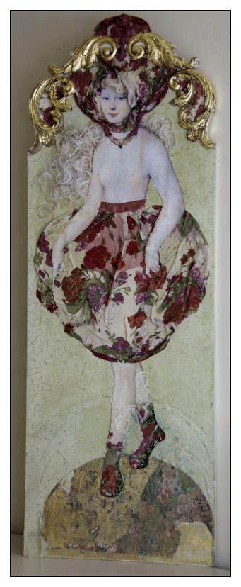 "Margriet Thissen/ Wandpaneel Sarah. Ca 120x50 cm. Niet te koop  Margriet Thissen, wall panel Sarah. Approx  47x19,5"". Not for sale"