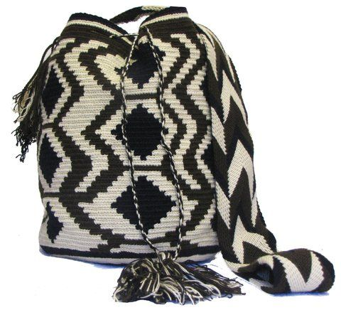 Complex Black and white wayuu mochila patterns - comprar online