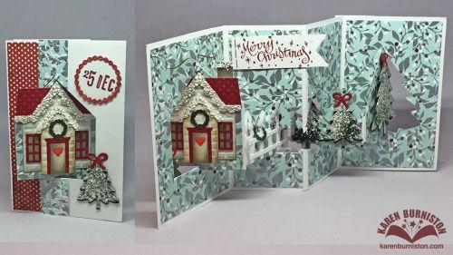 Karen Burniston using the Pop it Ups House Pivot Card, Evergreen Pivot Card and Holiday House die sets by Karen Burniston for Elizabeth Craft Designs