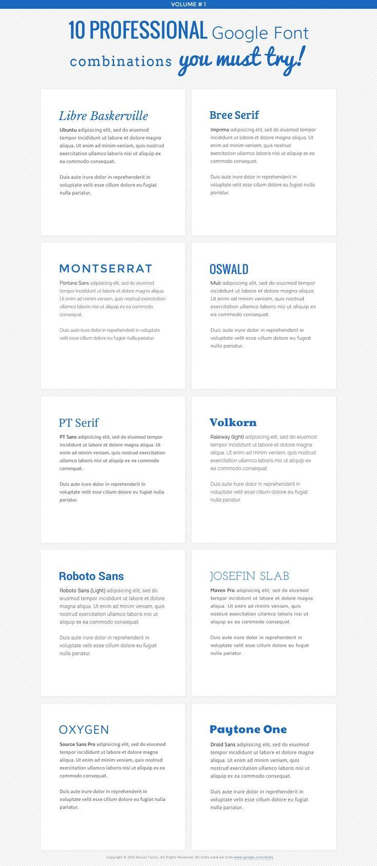 Google Web font combinations
